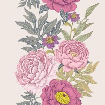 Naadloos patroon met bloemenrozen, pioenen.