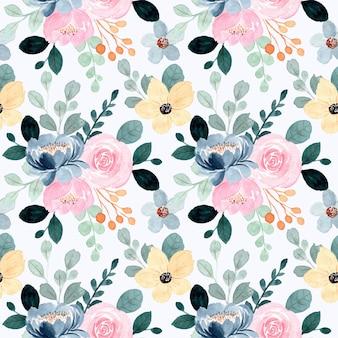 Naadloos patroon met bloemenwaterverf