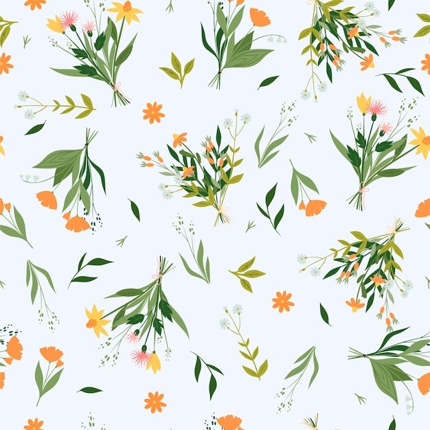 Naadloos patroon met boeketten van wilde bloemen