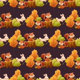 Naadloos patroon met bomen, bladeren, eekhoorns en konijnen