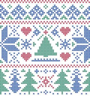 Naadloos patroon met bomen en sneeuwvlokken