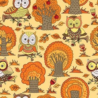 Naadloos patroon met bomen en uilen. vectorillustratie die kan worden gebruikt als behang of inpakpapier. herfst achtergrond