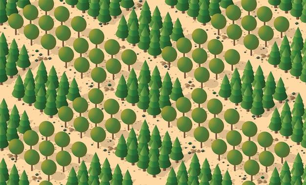 Naadloos patroon met bomen