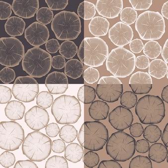 Naadloos patroon met boomringen.