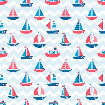 Naadloos patroon met boten