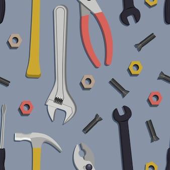 Naadloos patroon met bouw, huisreparatie-instrumenten. vectorillustratie.