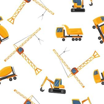 Naadloos patroon met bouwmachines. vector