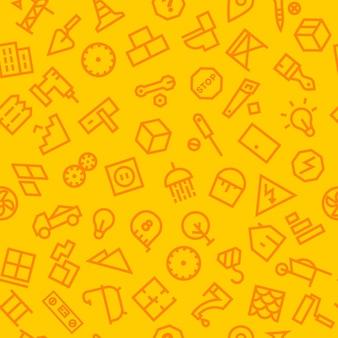 Naadloos patroon met bouwpictogrammen. vector illustratie
