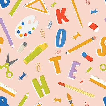 Naadloos patroon met briefpapier, benodigdheden en accessoires voor lessen, items voor het onderwijs. terug naar schoolachtergrond. kleurrijke illustratie in platte cartoon stijl voor inpakpapier, behang