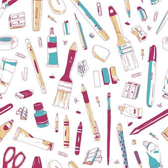 Naadloos patroon met briefpapier, kunst en kantoor tools, schoolbenodigdheden