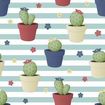 Naadloos patroon met cactus in bloempotten