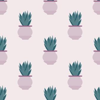 Naadloos patroon met cactus in pot op lichte achtergrond.