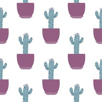 Naadloos patroon met cactus in pot op witte achtergrond.