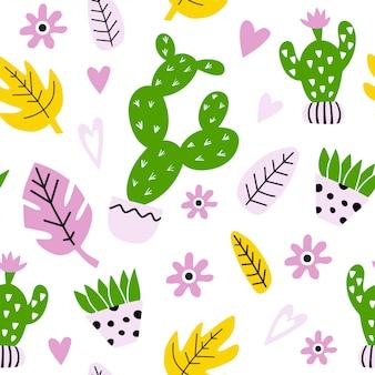 Naadloos patroon met cactussen en bladeren