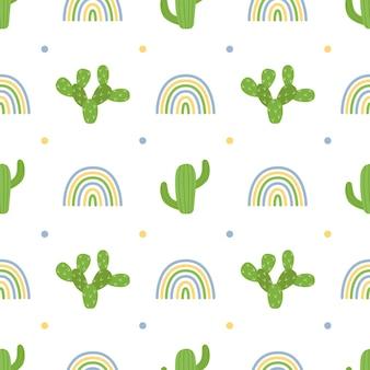 Naadloos patroon met cactussen en regenbogen, vectorillustratie