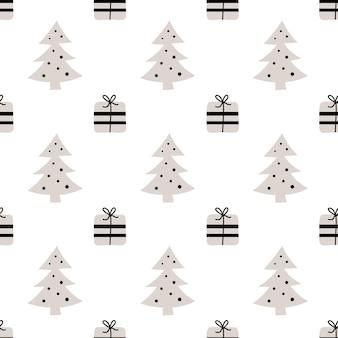 Naadloos patroon met cadeau en kerstboom nordic print xmas new year inpakpapier