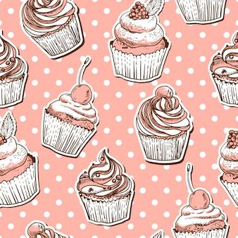 Naadloos patroon met cakes