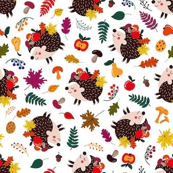 Naadloos patroon met cartoon egels