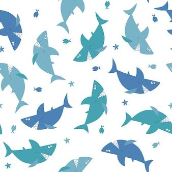 Naadloos patroon met cartoon haaien en vissen vector kinderillustratie marine thema