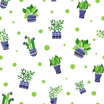 Naadloos patroon met cartoon ingemaakte huis planten