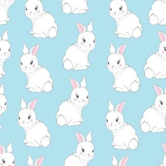 Naadloos patroon met cartoon konijntjes voor kinderen