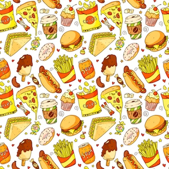 Naadloos patroon met cartoon pizza, hamburger, hotdog, koffie, frietjes, sandwich, donut, frisdrank, chips. fast food en drink vectorillustratie