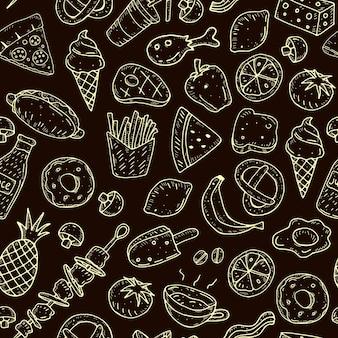 Naadloos patroon met cartoonvoedsel