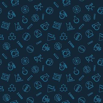 Naadloos patroon met chemie overzicht pictogrammen