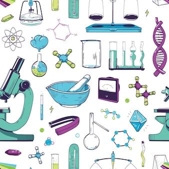 Naadloos patroon met chemische en fysische laboratoriumapparatuur