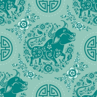 Naadloos patroon met chinees nieuwjaar zodiac jaar van het os-teken met aziatische elementen