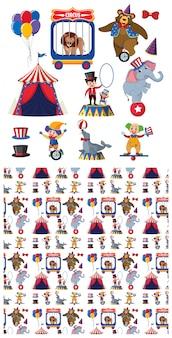 Naadloos patroon met circusdieren