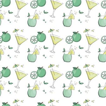 Naadloos patroon met citrus zomercocktails.