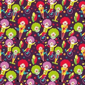 Naadloos patroon met clowns.