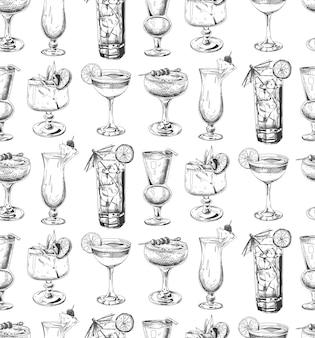 Naadloos patroon met cocktails. schetsen.