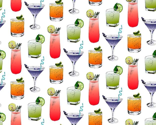 Naadloos patroon met cocktails.