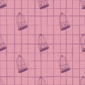Naadloos patroon met contourornament van de vogelkooi