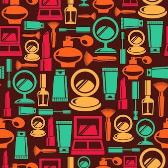 Naadloos patroon met cosmetische pictogrammen