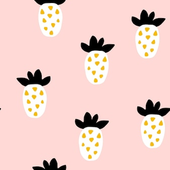 Naadloos patroon met creatieve moderne vruchten. hand getekende trendy achtergrond, abstracte ananas. creatief trendy naadloos patroon met ananassen. handgetekende vectorillustratie in pastelkleuren