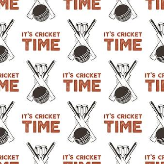 Naadloos patroon met cricket-elementen. sport patroon behang. vector geïsoleerde illustratie op witte achtergrond voor pakketten product, t-shirts en ander design.