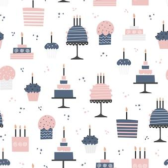 Naadloos patroon met cupcakes en cakes in vlak ontwerp.