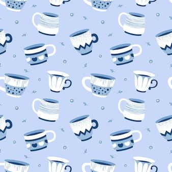Naadloos patroon met cups in de scandinavische stijl, voor stof, behang.