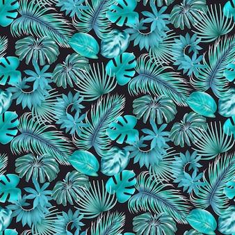 Naadloos patroon met cyaan monstera en waaierpalm, arecapalm, lianen, dieffenbachia-bladeren op een donkere achtergrond. bladeren voor cosmetica, producten voor de gezondheidszorg, textiel, print, uitnodiging, verkoop.
