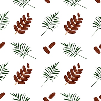 Naadloos patroon met dadelfruit en palmtak