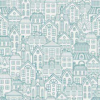 Naadloos patroon met daken en huizen.