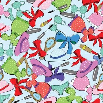Naadloos patroon met dameskleding - vector