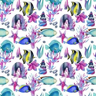 Naadloos patroon met de chirurg van waterverfvissen
