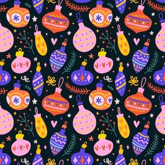 Naadloos patroon met de decoratie van de kerstmisbal