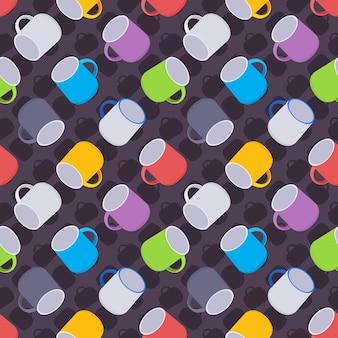 Naadloos patroon met de gekleurde koffiemokken