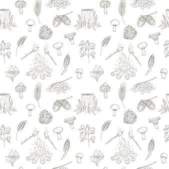 Naadloos patroon met de herfst, bosoogst. zwart witte vector met lineaire omtrek doodle elementen