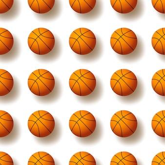 Naadloos patroon met de illustratie van de basketbalbal